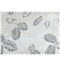 Grey black brown beige colour natural floral leaf design poly main curtain designs