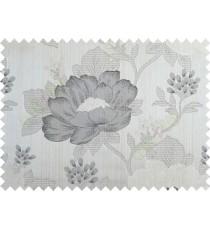 Grey black brown beige colour beautiful natural big flower design poly main curtain designs