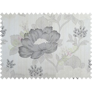 Grey black brown beige colour beautiful natural big flower design poly main curtain designs
