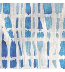 Blue white black color stone geometric shaped vertical rectangular shaped lines texture finished cotton sheer curtain