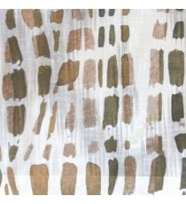 Brown white green color stone geometric shaped vertical rectangular shaped lines texture finished cotton sheer curtain