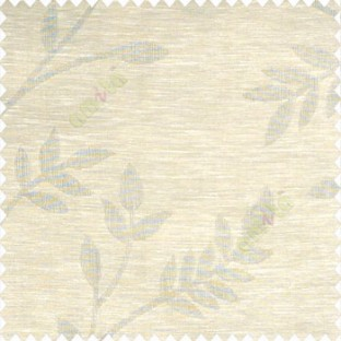 Beige color beautiful self design long leaf twig flowing plants traditional look poly fabric sheer curtain