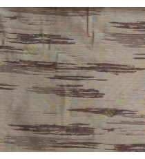 Brown beige color abstract cloud wood layers island finished horizontal short bold stripes sheer curtain