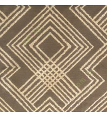 Brown beige color geometric abstract illusion flowing lines traditional design embroidery pattern main curtain
