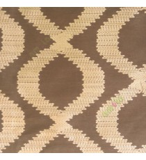 Brown beige color traditional ogee embroidery pattern digital weaving texture main curtain