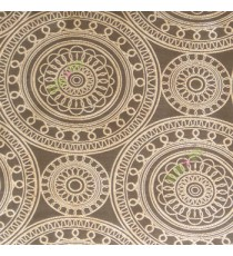 Brown beige color traditional designs circles rangoli scales deya zigzag circle lines main curtain