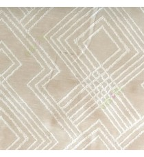 Beige cream color geometric abstract illusion flowing lines traditional design embroidery pattern main curtain