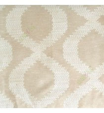 Beige cream color traditional ogee embroidery pattern digital weaving texture main curtain