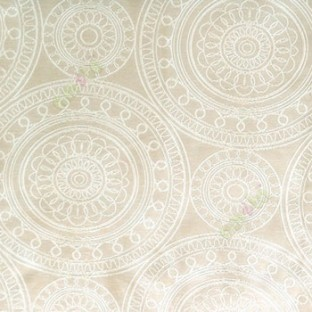 Beige cream color traditional designs circles rangoli scales deya zigzag circle lines main curtain
