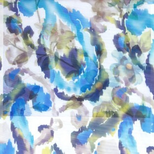 Blue green brown white color traditional digital random designs abstract flower leaf fruits patterns poly fabric sheer curtain