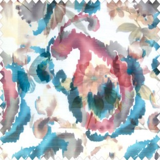 Brown white grey blue color traditional digital random designs abstract flower leaf fruits patterns poly fabric sheer curtain