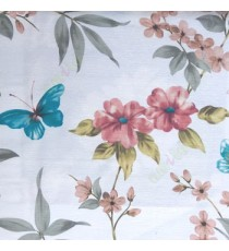 Brown white blue green grey color natural flower long leaf elegant look mike flower daisy flower buds big leaf and small leaf pattern poly fabric main curtain