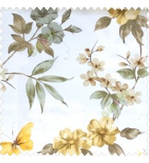 Brown white grey yellow color natural flower long leaf elegant look mike flower daisy flower buds big leaf and small leaf pattern poly fabric main curtain