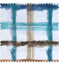 Blue white brown grey green color abstract checks design bold crossing colorful lines poly fabric main curtain