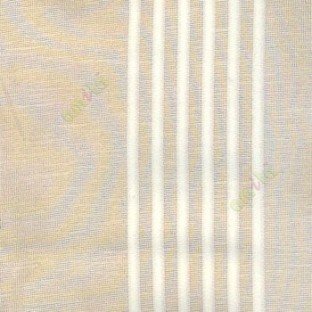 Cream color vertical pencil and bold stripes net finished vertical and horizontal checks line poly fabric sheer curtain