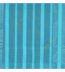 Blue color vertical pencil stripes net finished vertical and horizontal thread crossing checks poly sheer curtain