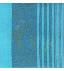Blue color vertical pencil and bold stripes net finished vertical and horizontal checks line poly fabric sheer curtain