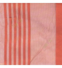 Orange color vertical pencil and bold stripes net finished vertical and horizontal checks line poly fabric sheer curtain