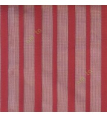 Red color vertical pencil stripes net finished vertical and horizontal thread crossing checks poly sheer curtain