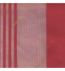 Red color vertical pencil and bold stripes net finished vertical and horizontal checks line poly fabric sheer curtain