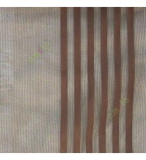 Brown color vertical pencil and bold stripes net finished vertical and horizontal checks line poly fabric sheer curtain