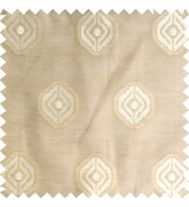 Beige cream color traditional designs circles texture finished polyester transparent base fabric sheer curtain
