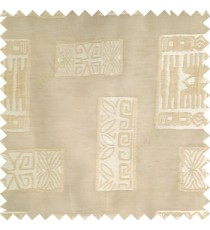 Beige cream color traditional designs decorative blocks stars texture gradients with transparent polyester base fabric sheer curtain