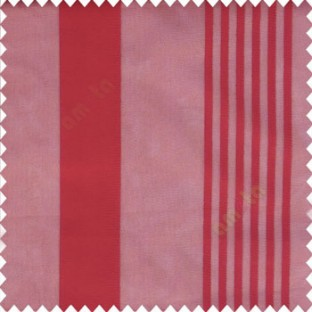 Red color bold vertical and pencil stripes net finished soft touch lines transparent fabric small check lines sheer curtain