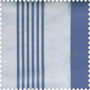 Blue color bold vertical and pencil stripes net finished soft touch lines transparent fabric small check lines sheer curtain
