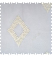 Beige cream color geometric designs embroidery diamond deice shapes with transparent fabric polyester sheer curtain