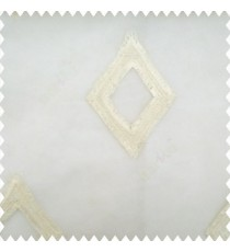 Cream white color geometric designs embroidery diamond deice shapes with transparent fabric polyester sheer curtain
