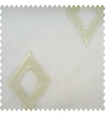 Beige color geometric designs embroidery diamond deice shapes with transparent fabric polyester sheer curtain