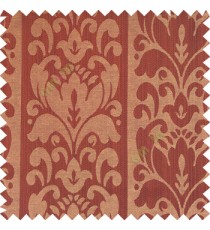 Dark chocolate brown black beige color traditional designs floral damask texture polyester texture wide vertical stripes background with thin lines main curtain