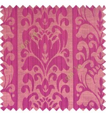 Purple black beige color traditional designs floral damask texture polyester texture wide vertical stripes background with thin lines main curtain