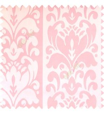 Baby pink white cream color traditional designs floral damask texture polyester texture wide vertical stripes background with thin lines main curtain