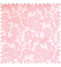 Baby pink white cream color beautiful flower leaves hanging floral designs flower buds elegant look vertical lines polyester background main curtain