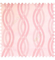 Baby pink white cream color vertical weaving ropes horizontal short texture lines polyester main curtain