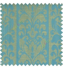 Blue beige grey color traditional designs floral damask texture polyester texture wide vertical stripes background with thin lines main curtain