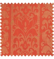 Red orange beige color traditional designs floral damask texture polyester texture wide vertical stripes background with thin lines main curtain