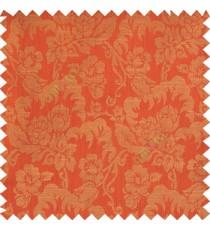 Red orange beige color beautiful flower leaves hanging floral designs flower buds elegant look vertical lines polyester background main curtain