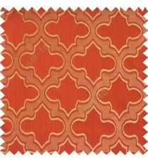 Red orange beige color traditional moroccan pattern texture borders on design polyester background main curtain