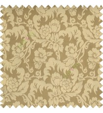 Light copper brown grey color beautiful flower leaves hanging floral designs flower buds elegant look vertical lines polyester background main curtain