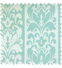 Cyan blue color traditional designs floral damask texture polyester texture wide vertical stripes background with thin lines main curtain