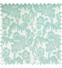 Cyan blue color beautiful flower leaves hanging floral designs flower buds elegant look vertical lines polyester background main curtain