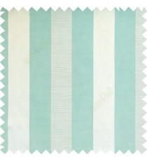 Cyan blue color bold vertical stripes with thin lines background polyester texture base fabric horizontal embossed lines main curtain