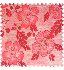 Maroon beige color beautiful traditional floral design big flower texture leaves horizontal digital lines main curtain