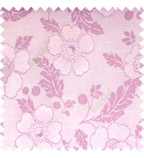Baby pink purple cream color beautiful traditional floral design big flower texture leaves horizontal digital lines main curtain