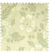 Light green cream color beautiful traditional floral design big flower texture leaves horizontal digital lines main curtain