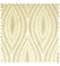 Beige cream color traditional reverse dots pattern floral leaves border crossing straight lines polyester texture base fabric main curtain