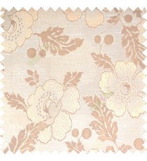 Beige cream light brown color beautiful traditional floral design big flower texture leaves horizontal digital lines main curtain